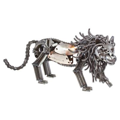 Rustic Recycled Metal Lion Sculpture