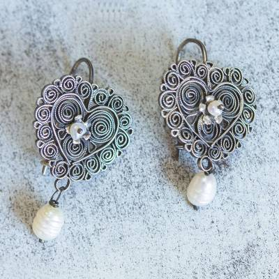 Cultured pearl filigree dangle earrings, 'Resplendent Heart' - Cultured Pearl Sterling Silver Filigree Earrings