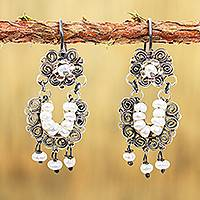 Cultured pearl filigree chandelier earrings, 'Vintage Flair' - Chandelier Earrings with Cultured Pearls