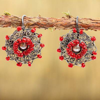 Sterling silver filigree drop earrings, 'Vintage Wreath in Red' - Red Crystal Sterling Silver Filigree Drop Earrings