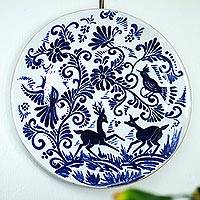Decorative ceramic plate, 'Nature Rejoices' - Cobalt and White Decorative Ceramic Plate