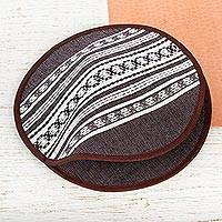 Cotton tortilla holder, 'Oaxacan Coffee' - Artisan Hand Woven Brown Striped Tortilla Holder
