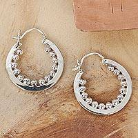 Sterling silver hoop earrings, 'Taxco Marquee' - Hand Crafted Taxco Silver Hoop Earrings