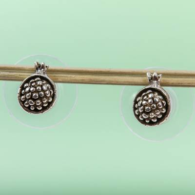 Sterling silver stud earrings, Taxco Pomegranates