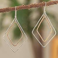 Sterling silver and copper dangle earrings, 'Taxco Kites' - Kite Shaped Copper and Sterling Silver Earrings