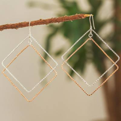 Sterling silver and copper dangle earrings, Taxco Squares