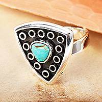Turquoise cocktail ring 'Taxco Triangle' - Taxco Sterling Silver Ring with Turquoise