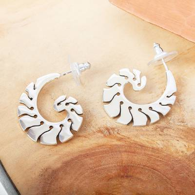 Sterling silver half-hoop earrings, 'Taxco Nautilus' - Taxco Sterling Silver Nautilus Half-Hoop Earrings