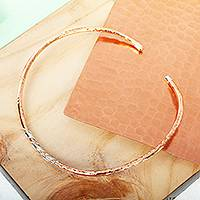 Copper and sterling silver collar necklace, 'Taxco Mix' - Hammered Copper and Sterling Silver Collar Necklace