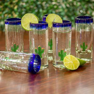 Blown glass tequila glasses, 'Bottoms Up' (set of 6) - Hand Blown Tequila Glasses with Cactus Set of 6