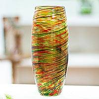Recycled blown glass vase, 'Color Tornado' - Hand-Blown Recycled Glass Vase