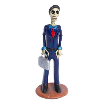 Hand Crafted Ceramic Day of the Dead Lawyer Statuette