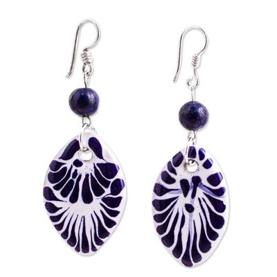 Lapis Lazuli and Ceramic Dangle Earrings