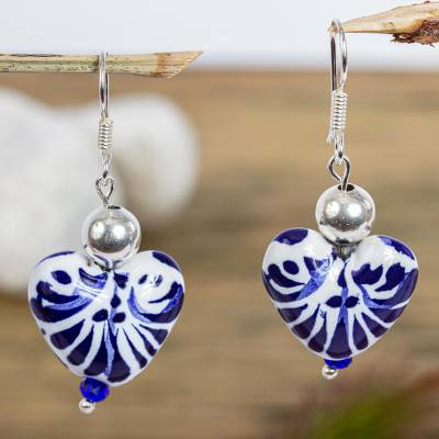 Ceramic beaded dangle earrings, 'Cobalt Hearts' - Dangle Earrings with Hand-Painted Ceramic Hearts