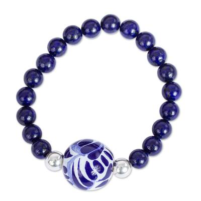 Lapis Lazuli and Ceramic Bead Pendant Bracelet