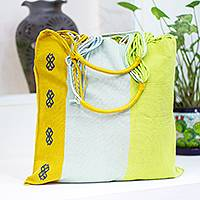 Cotton tote bag, 'Bright Day' - Bright Hand Loomed Cotton Tote Bag