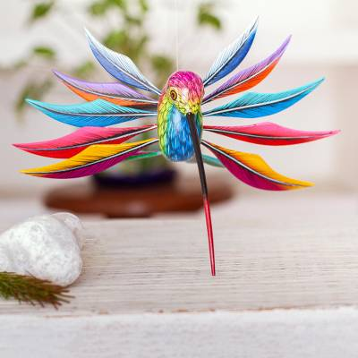 Wood alebrije sculpture, 'Rainbow Hummingbird' - Multicolored Wood Hummingbird Alebrije