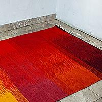 Wool area rug, 'Sunset Glow' (4x7.5)