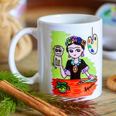 Ceramic mug, 'Frida with Monkey' - Multicolored Frida-Themed Art Print Mug