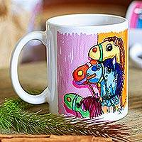 Ceramic mug, 'Hobby Horses' - Ceramic Mug Printed from Painting