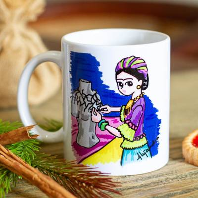 Ceramic mug, 'Frida with Thorn Necklace' - Frida-Themed Artwork Ceramic Mug