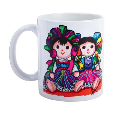 Ceramic mug, 'Maria Rag Dolls' - Ceramic Mug with Painting Print of Maria Dolls