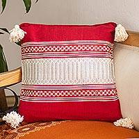 Cotton cushion cover, 'Oaxaca Frets in Red' - Red and Alabaster Cotton Cushion Cover