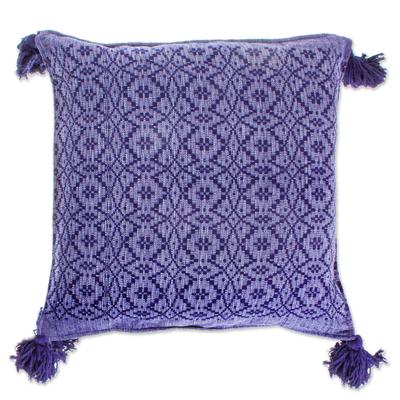 Diamond Pattern 100% Cotton Blue Cushion Cover