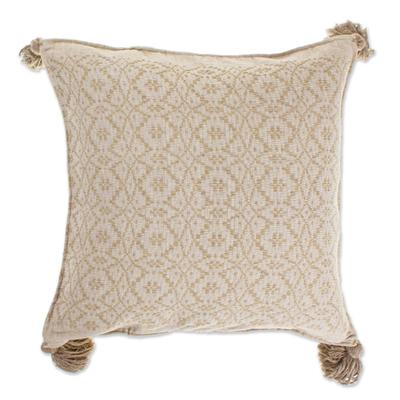 Hand Woven Khaki Cotton Cushion Cover