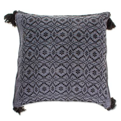 Black Patterned Cotton Cushion Cover
