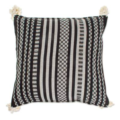 Black and Alabaster Cotton Cushion Cover