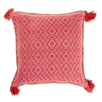 Diamond Pattern Cotton Cushion Cover in Deep Rose