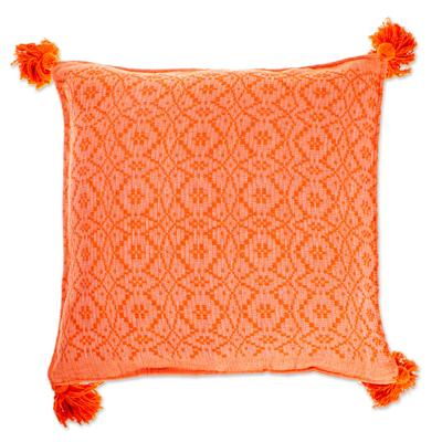 Hand Loomed Orange Cotton Cushion Cover