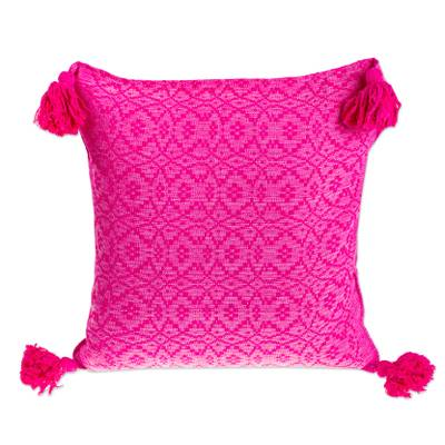 Hand Woven Hot Pink Cushion Cover with Tassels