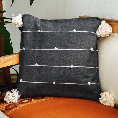 Cotton cushion cover, 'On Point in Dark Grey' - Charcoal Grey Cotton Cushion Cover