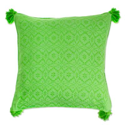 Bright Green Hand Woven Cotton Cushion Cover