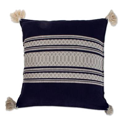 Hand Loomed Navy and Warm White Cushion Cover