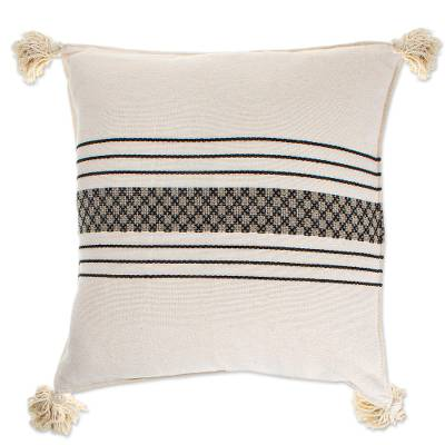 Artisan Crafted White Cushion Cover from Mexico