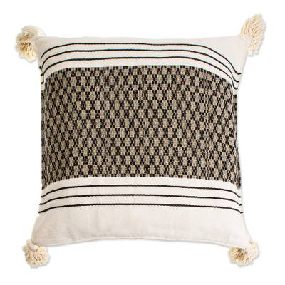 Artisan Crafted Cotton Cushion Cover in White and Black
