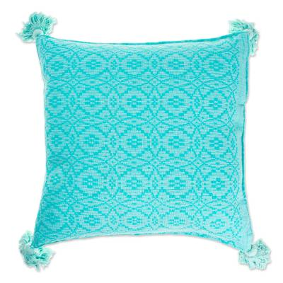 Artisan Crafted Cotton Cushion Cover in Aqua