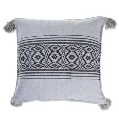 Hand Loomed Grey Cotton Cushion Cover