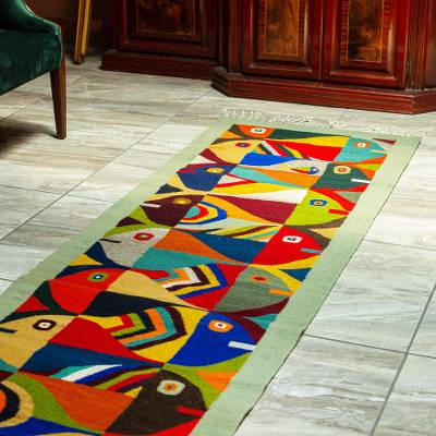 Wool runner, 'Tessellated Fish in Sage' (2.5x10) - Long Wool Runner Rug with Fish Motif (2.5x10)