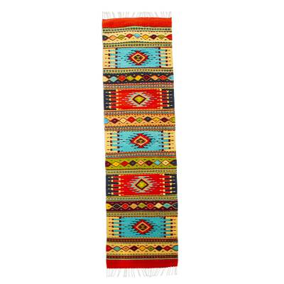 Zapotec wool runner, 'Valley Festival' (2x7) - Artisan Crafted Multicolored Wool Runner (2x7)