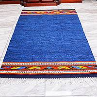 Zapotec wool area rug, 'Oaxacan Shores' (4x6.5)