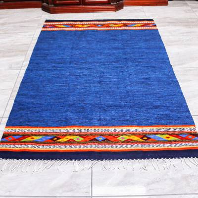 Zapotec wool area rug, 'Oaxacan Shores' (4x6.5) - Hand Woven Zapotec Area Rug in Blue from Mexico (4x6.5)
