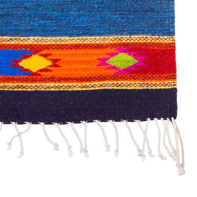 Zapotec wool area rug, 'Oaxacan Coast' (2.5x5) - Blue Wool Area Rug with Zapotec Style Border (2.5x5)