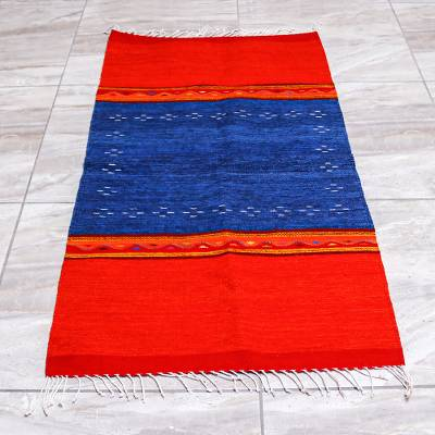 Zapotec wool area rug, 'Oaxacan Winds' (2.5x5) - Zapotec Red and Blue Hand Loomed Wool Area Rug (2.5x5)