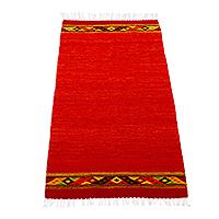 Zapotec wool area rug, 'Red Diamonds' (2.5x5)