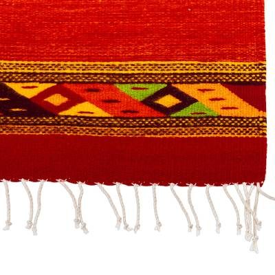 Zapotec wool area rug, 'Red Diamonds' (2.5x5) - Zapotec Hand Crafted Red Wool Area Rug (2.5x5)