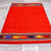 Zapotec wool area rug, 'Red Stars' (4x6.5)